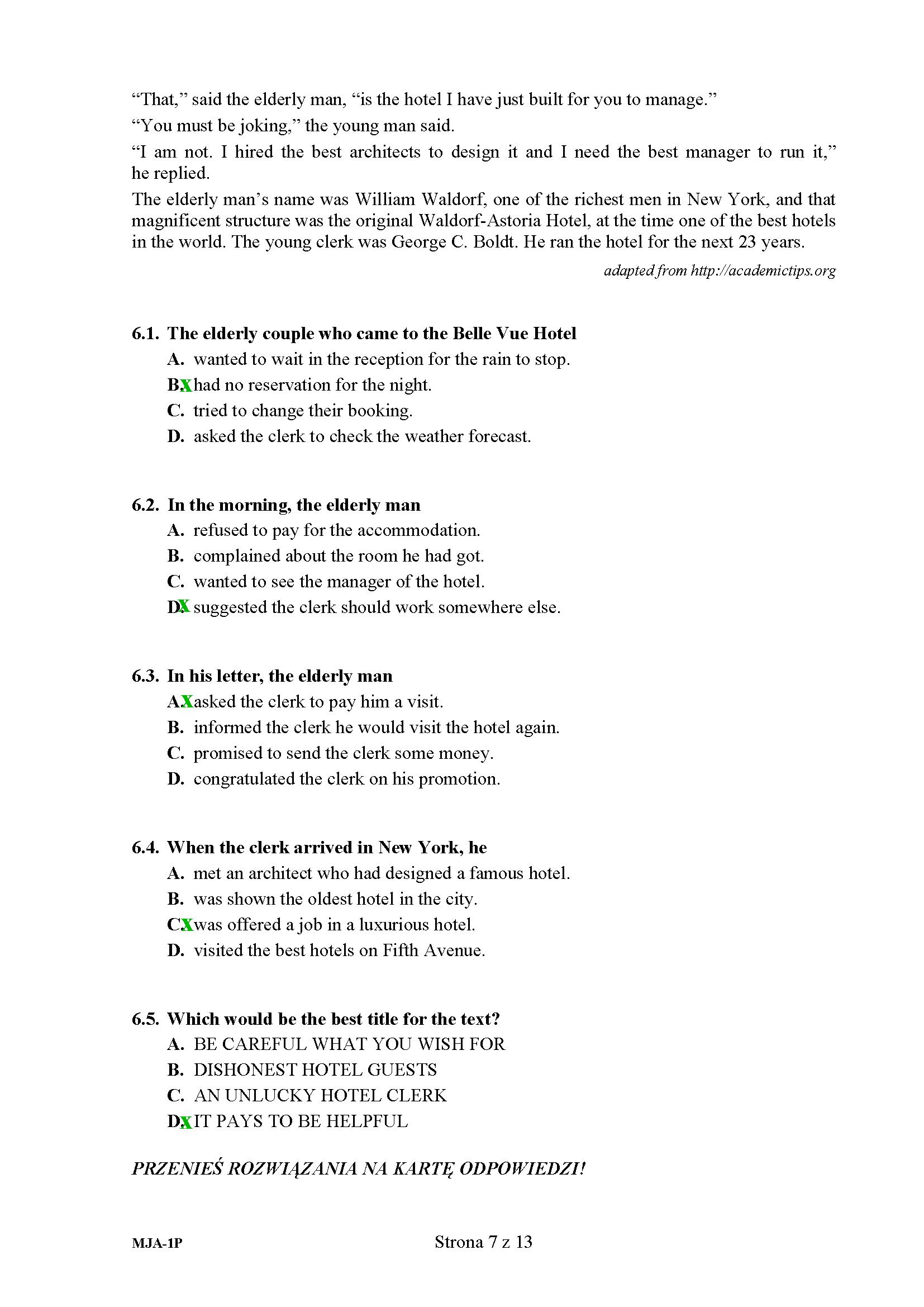 arkusz matura 2020 z języka angielskiego
