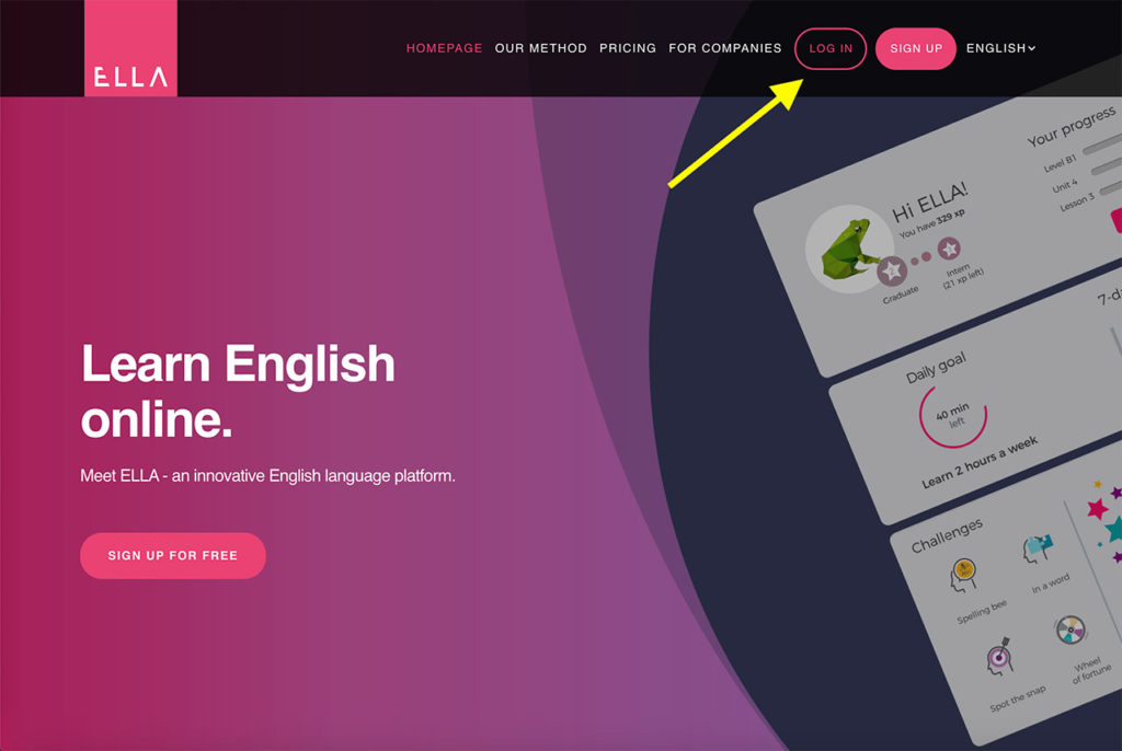 Log in - learning English with ELLA