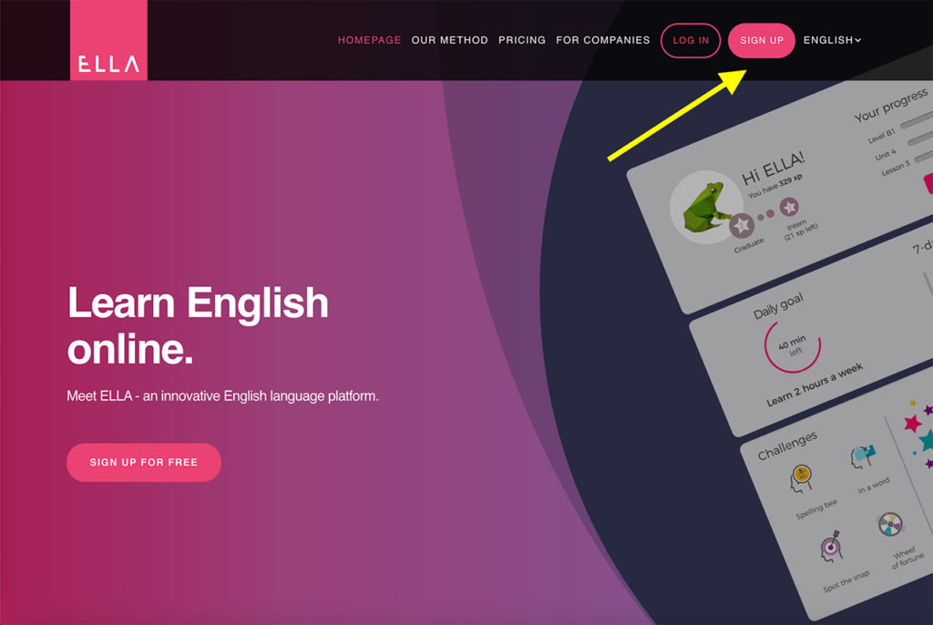 Sign up - learning English with ELLA