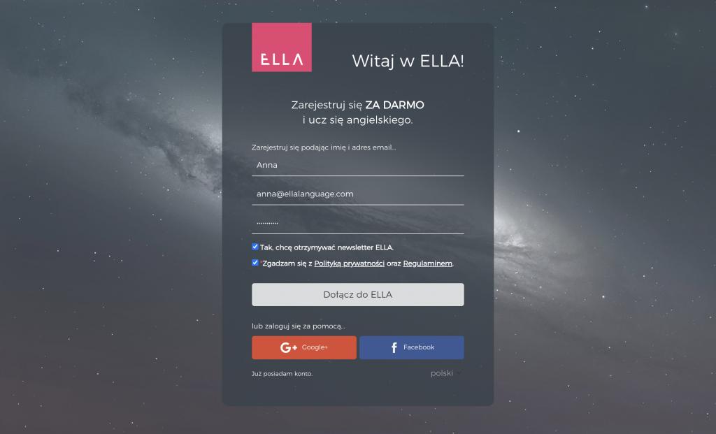 formularz rejestracji kurs ELLA